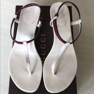 Gucci Nappa Moorea WHITE Wedge Sandal Size 40